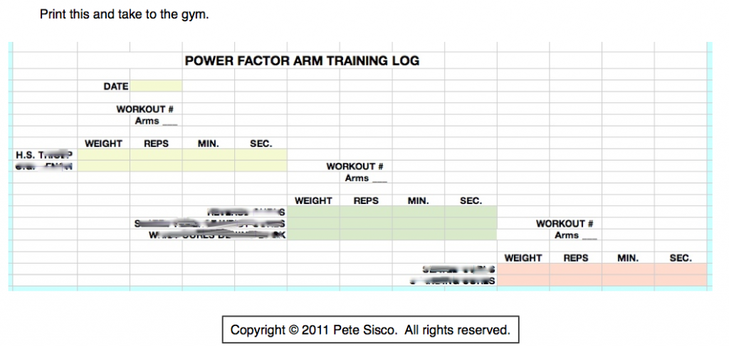Power Factor Arm Training Log