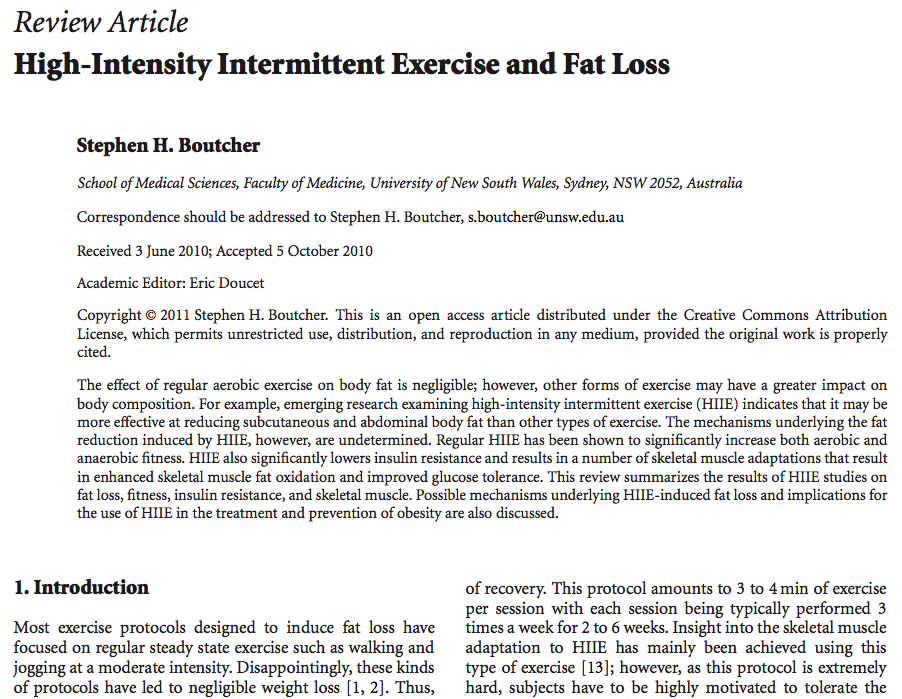 Studies on High Intensity Exercise and Fat Loss